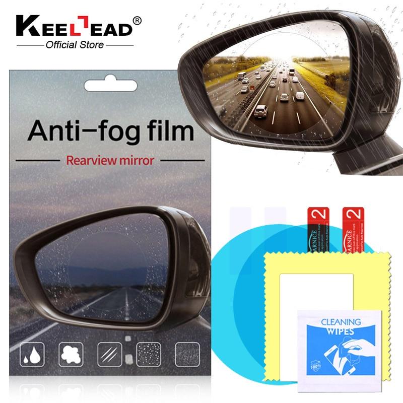 2pcs Car Anti Water Mist Film Anti Fog Rainproof Rearview Mirror Protective Film