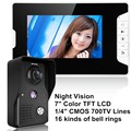 "7 ""LCD Wired Night Visual Video Door Phone Doorbell Intercom System Home Security TFT LCD Monitor"