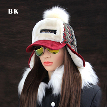 Winter Faux Cashmere Bomber Hat Women Earflap Caps Faux Fur Pompom Snow Hats Adjustable Bohemian Winter Russian Ushanka