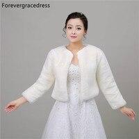 Forevergracedress New Real Photos Winter Faux Fur Wedding Wrap Bolero Jackets Bridal Coat Cape Cloak Shawls Scarves In Stock