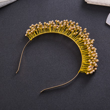 Hot New Winter Trendy Bridal Pearl Tiara Crown Rhinestone Gold Wedding Hair Accessories Jewelry Crystal Headband