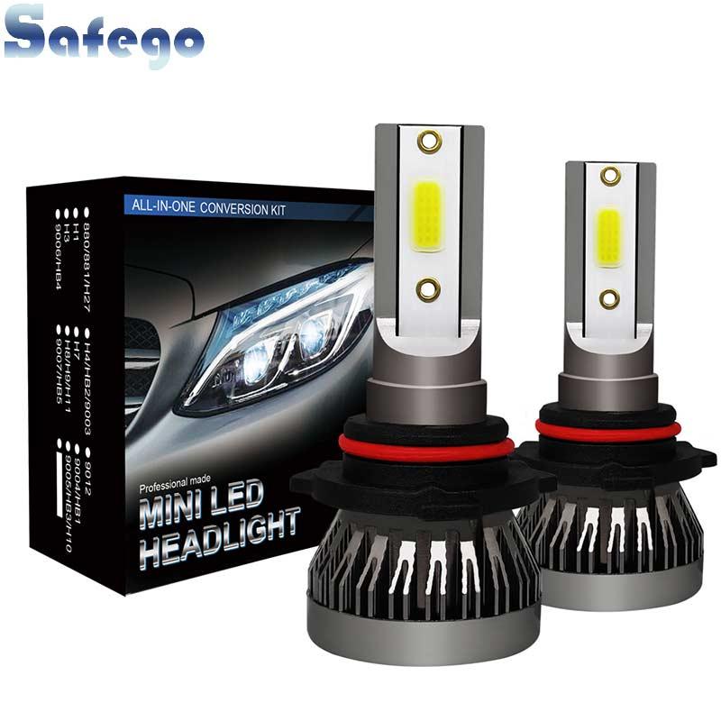 Safego 2pcs LED Headlight H4 HB2 9003 H7 H8 H9 H11 9005 HB3 Headlight Bulbs For Cars 18W 12V 3000LM 6000K Auto Super BrightSafego 2pcs LED Headlight H4 HB2 9003 H7 H8 H9 H11 9005 HB3 Headlight Bulbs For Cars 18W 12V 3000LM 6000K Auto Super Bright