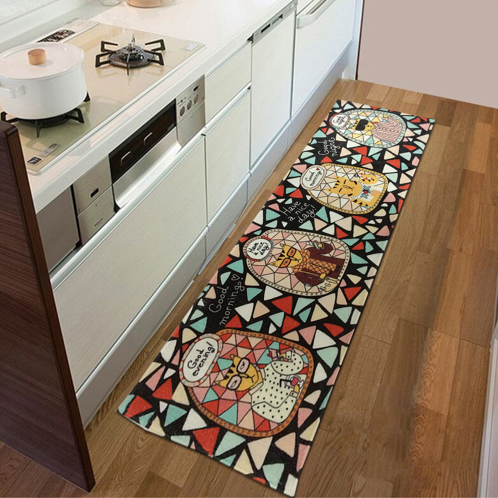 Yazi Flannel Cartoon Cat Kitchen Rug Runner Bedroom Area Carpet Mat Indoor Entrance Doormat 45x135cm Tapete In From Home Garden On Aliexpress Com