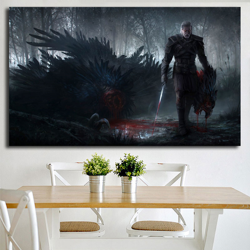 Witcher 3 Wild Hunt Fantasy Action Fighting Warrior Canvas Posters Prints Wall Art Painting Decorative Picture Modern Home Decor in Painting Calligraphy from Home Garden