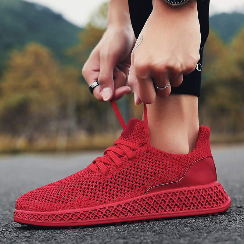 New Simple Men Spring Autumn Running Shoes Breathable Comfortable Mesh Black Red Gray Sneakers Male Outdoor Sport Light Trainers