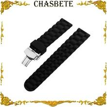 22mm 24mm Silicone Rubber Watch Band for Fossil Watchband Men Women Resin Strap Wrist Loop Belt Bracelet Black + Spring Bar