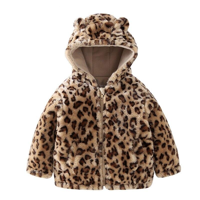 Детские Leopard зимнее пальто 9 months to 4 years Old для мальчиков и девочек хлопковая верхняя одежда Осенняя куртка детская одежда с капюшоном