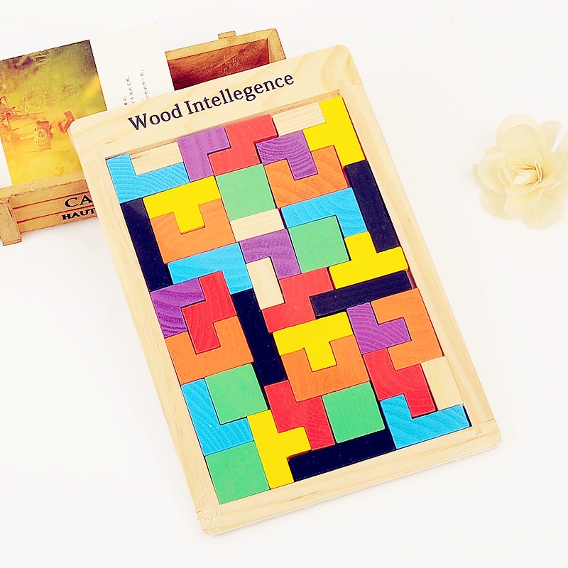 3D Wooden Puzzles Jigsaw Board Toys Tangram Brain Teaser Children Puzzle Toys Tetris Game Educational Kid Toys Gifts New Year