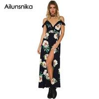 Ailunsnika Summer 2017 Women Boho Long Dress Black Frill Trim Spaghetti Strap V Neck Floral Print