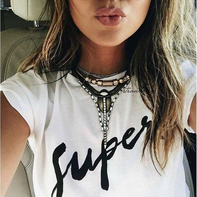 Women Print Super T Shirt White Cotton Letter Tops Tee