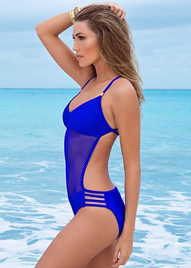 035ed7a815918 2018 New High Cut One Piece Swimwear Royal Blue Net One Piece Swimsuit Mesh Bathing  Suits Sexy Halter Monokini Backless Swimwear