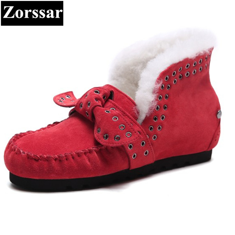 {Zorssar} 2017 new winter warm plush women shoes cow suede Casual flat heel ankle snow boots fashion womens boots large size zorssar 2017 new classic winter plush women boots suede ankle snow boots female warm fur women shoes wedges platform boots