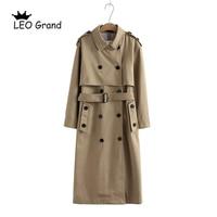 Vee Top женское повседневное однотонное двубортное пальто, модная офисное пальто с поясом, шикарный дизайн, длинный Тренч 902229