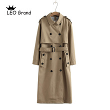Outwear Coat Vee-Top Long-Trench Chic Solid-Color Fashion Women Office Double-Breasted