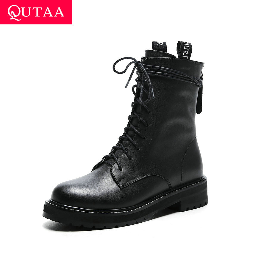 QUTAA 2020 Women Thick Middle Heel Ankle Boots Round Toe Sewing Platform Shoes Lace Up Behind Zipper Motorcycle Boots Size 34-41QUTAA 2020 Women Thick Middle Heel Ankle Boots Round Toe Sewing Platform Shoes Lace Up Behind Zipper Motorcycle Boots Size 34-41
