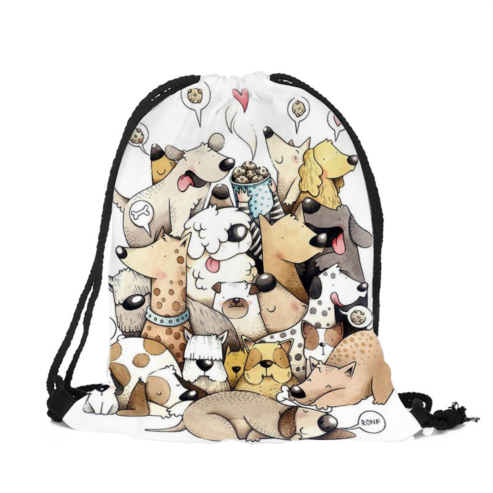 Customize Cute Cartoon Kitten Puppy Printing Drawstring Bags With Double Sides For Woman Man School Travel Use String Backpack