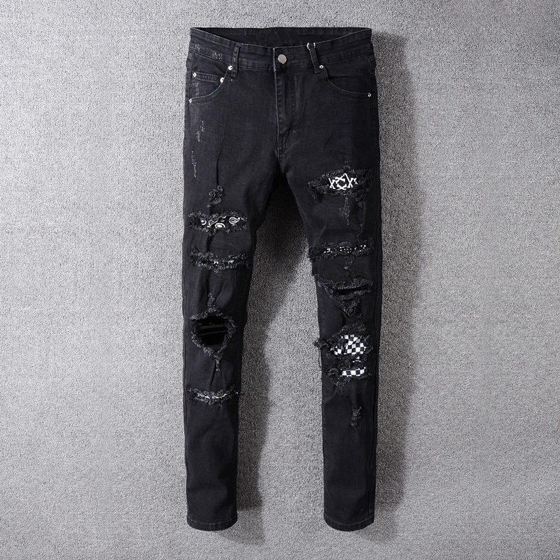 American Streetwear Fashion Men Jeans Black Color Destroyed Ripped Jeans Men Patches Designer Pants Hip Hop Skinny Jeans Men