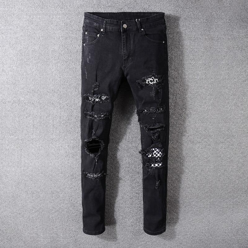 American Streetwear Fashion Men Jeans Black Color Destroyed Ripped Jeans Men Patches Designer Pants Hip Hop Skinny Jeans Men