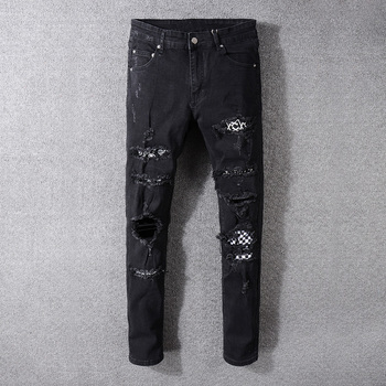American Streetwear Fashion Men Jeans Black Color Destroyed Ripped Patches Designer Pants Hip Hop Skinny