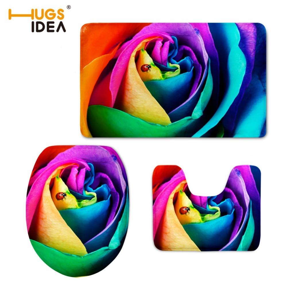 HUGSIDEA 3 PCS Rəngarəng çiçəkli vanna otağı tualet kreslosu - Ev əşyaları - Fotoqrafiya 6