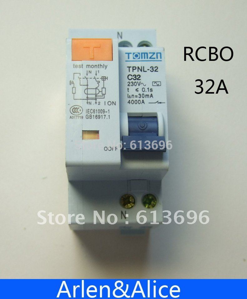 DPNL 1P+N 32A 230V~ 50HZ/60HZ Residual current Circuit breaker with over current and Leakage protection RCBO idpna vigi dpnl rcbo 6a 32a 25a 20a 16a 10a 18mm 230v 30ma residual current circuit breaker leakage protection mcb a9d91620