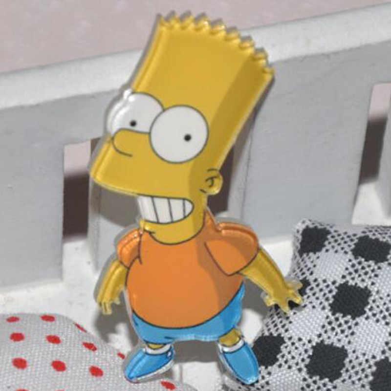 1 PC Acrylic Bros Kartun Anime Lucu Simpson Pakaian Bros Pins Bros Ransel Mahasiswa Tas Dekorasi Bros Badge Crosses