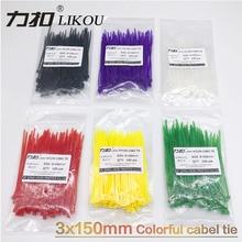 купить LIKOU Self-locking colouful Nylon Cable Ties  3x150mm 100PCS wholesale 12 color Plastic Zip Tie wire binding wrap straps дешево