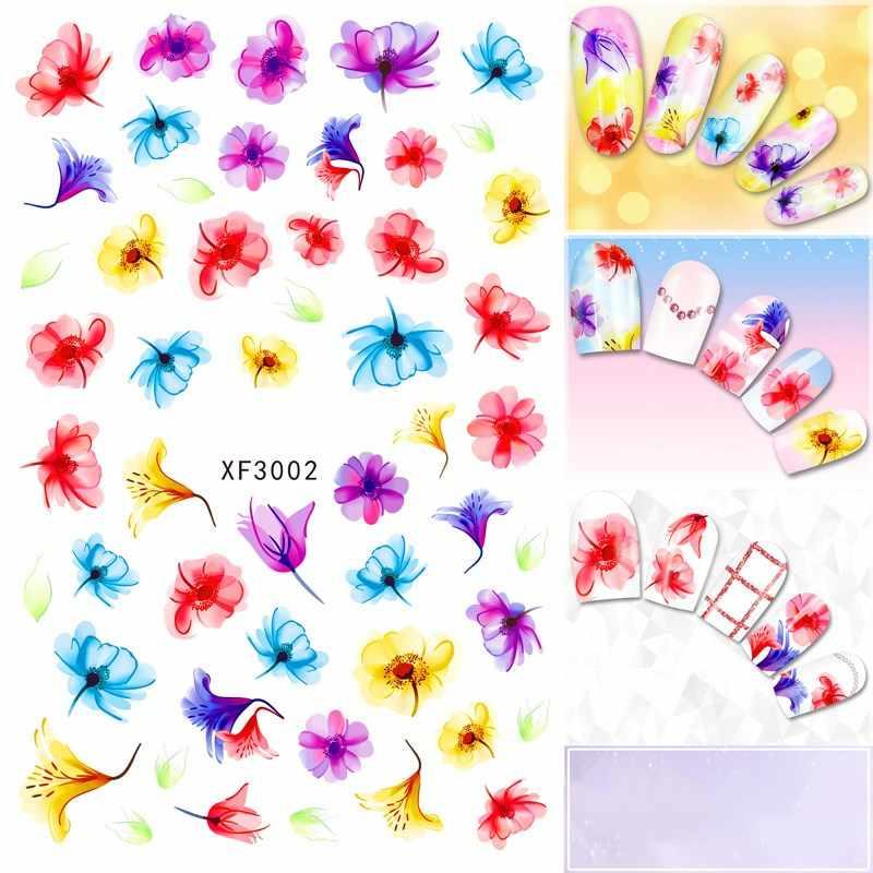 Uñas a prueba de agua pegatina artística moda hermosa flor 3D diseño señora mujeres herramientas de manicura envolturas de uñas calcomanías XF3002