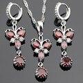 Eove Mariposa Rojo Granate Plata 925 Sistemas de La Joyería Collar Colgante Pendientes de Gota Largos Para Las Mujeres