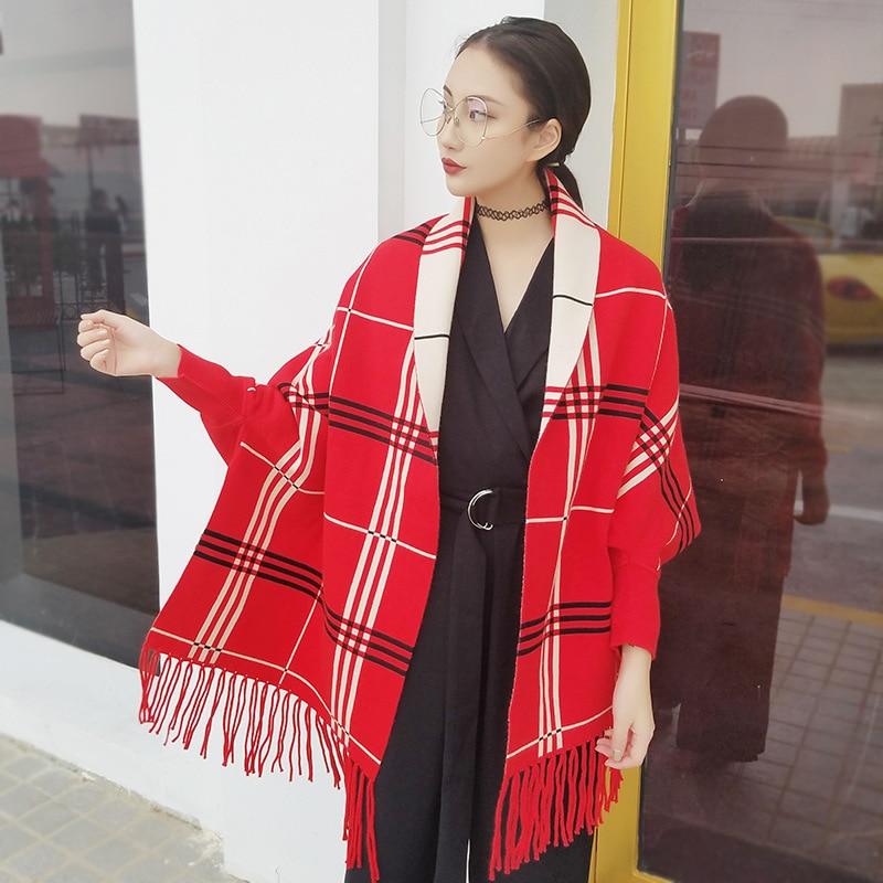 Cardigan otoño invierno mujeres plaid camisa del palo con flecos del mantón de g