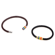 Black Brown Leather Rainbow Magnetic Bisexual Bracelets