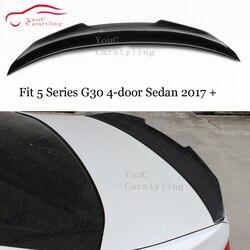 G30 z włókna węglowego PSM styl tylny spojler do bmw serii 5 G30 4-Sedan 2017 + Trunk Boot Lip tylny skrzydła i 535i 530i