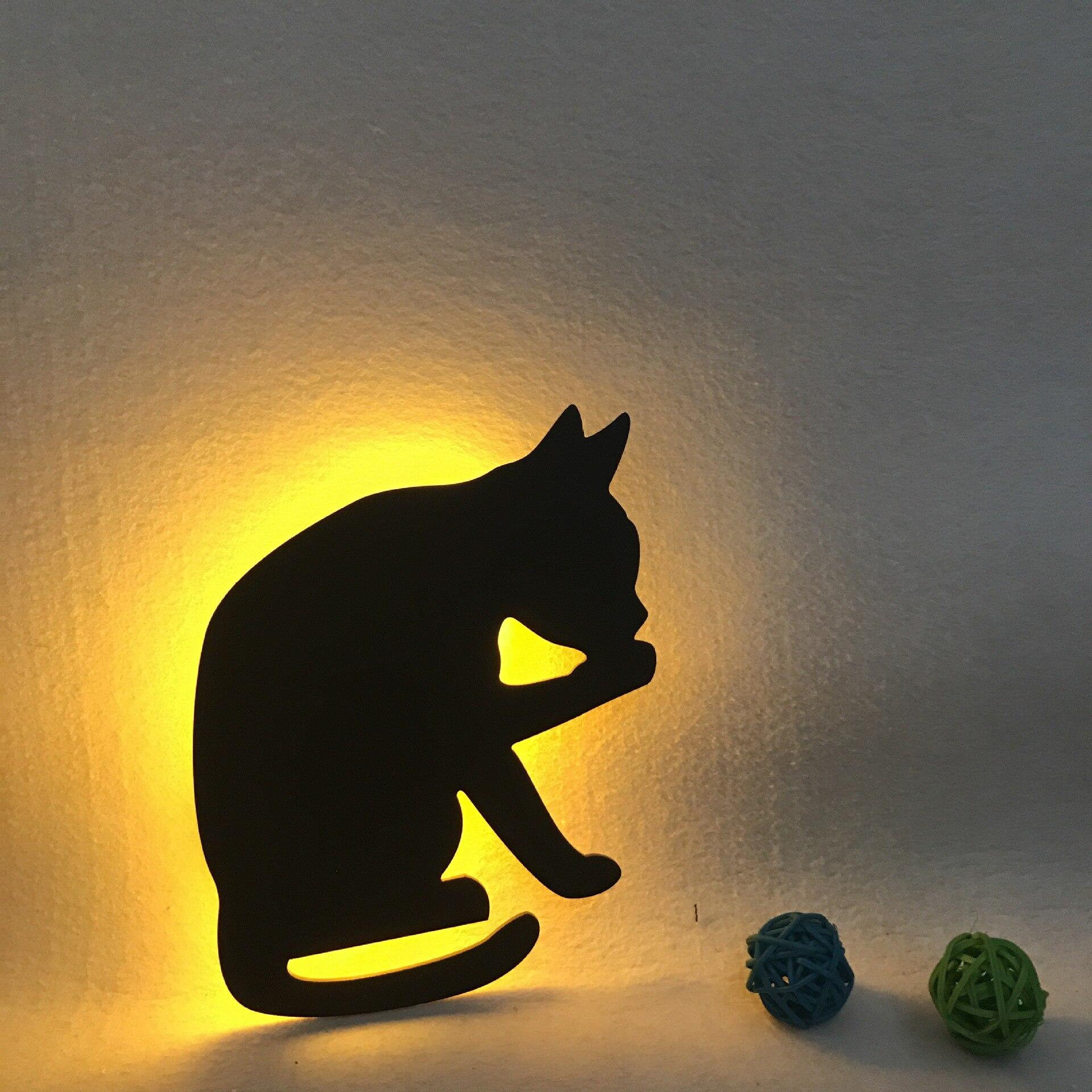Cat Night Light Lamp Led Battery Operated Voice Sensor For