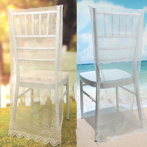 Idyllic Simple Style White Lace Seat Back Cover Wedding Banquet Chair Covers Supplies Black And