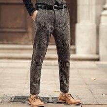 جديد نقاشات الرجال الشتاء الأوروبي نمط منقوشة ضئيلة تمتد الصوف عارضة السراويل الرجال الأعمال العلامة التجارية الأزياء طويلة السراويل K681 2