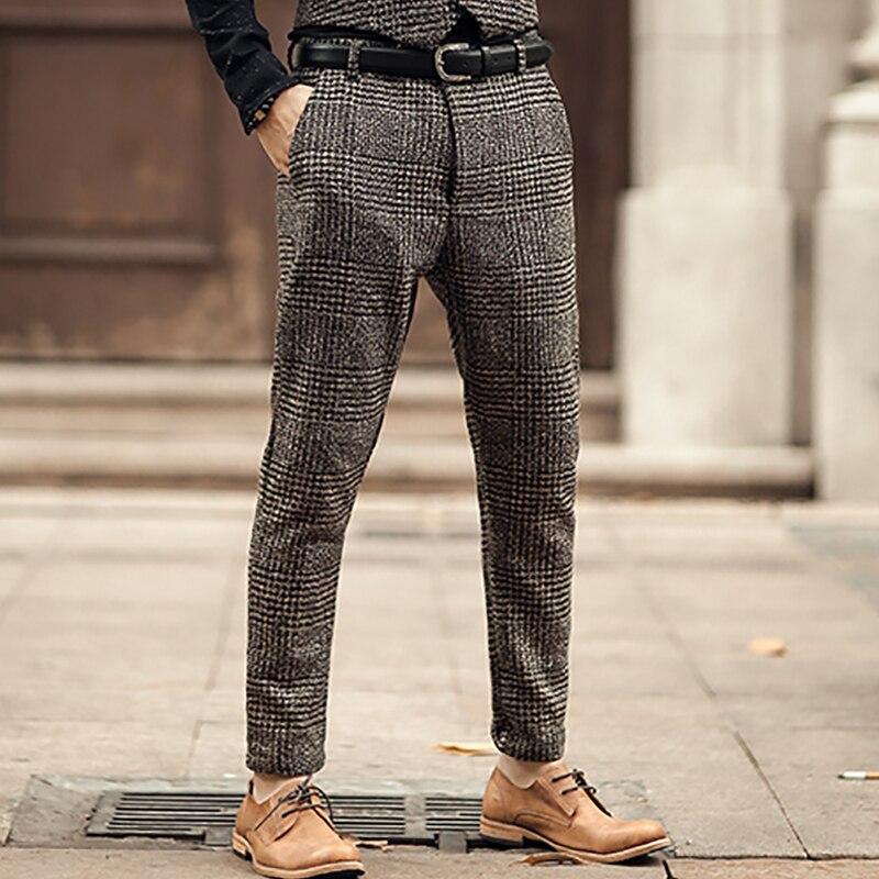 New Metrosexual Men Winter European Style Plaid Slim Stretch Woolen Casual Trousers Men Business Brand Fashion Long Pants K681-2