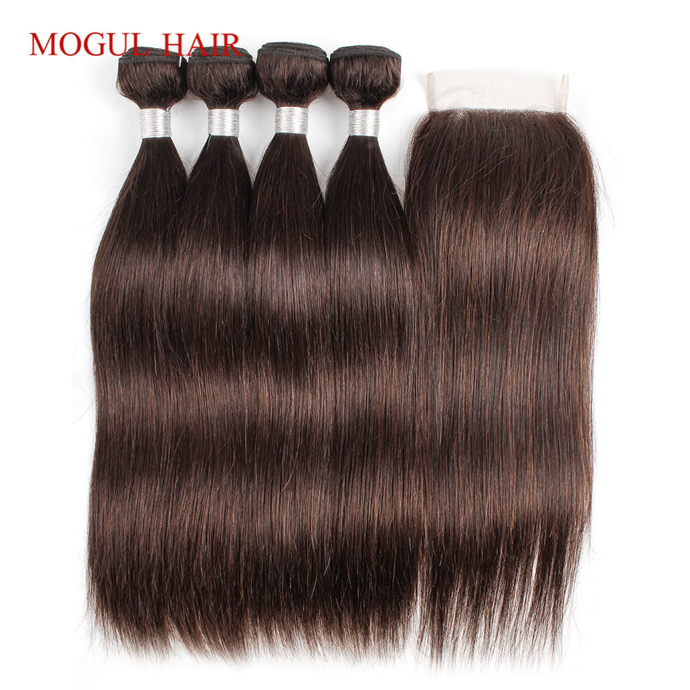 MOGUL HAIR Brazillian Hair Bundles With Closure Color 2 Dark Brown 3 4 Bundles with Closure