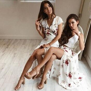 NLW White Flower Print Maxi Skirt Belt Chiffon Summer Skirt 2018 Women High Split Sexy Long Skirt Red Beach Party Girl Vestidos Юбка