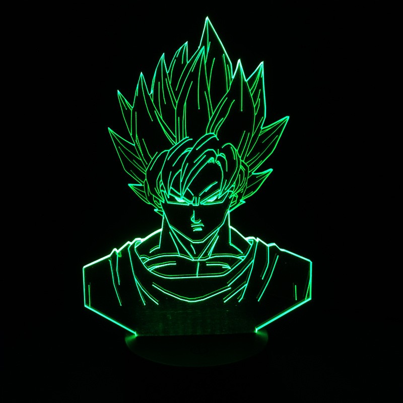 Dragon ball z super saiyan 3 goku action figures 3d table lamp 2016 New 7 color changing figuras dragon ball z banpresto figures image