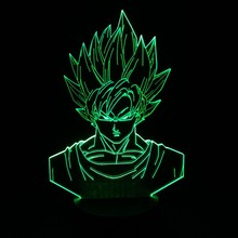 Dragon ball z super saiyan 3 goku figuras de acción 3d mesa lámpara 2016 Nueva 7 color cambiante figuras dragon ball z banpresto cifras