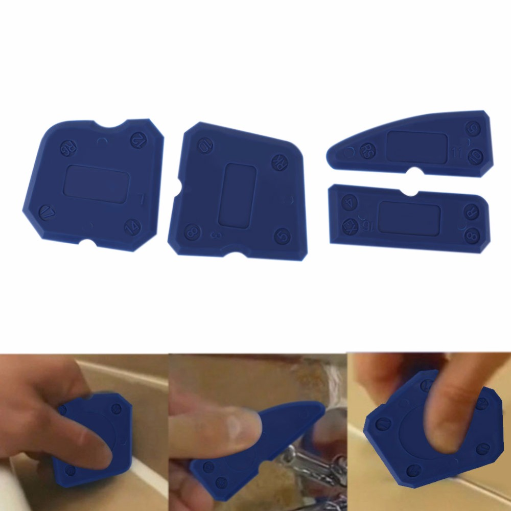 Caulking Tool Kit Joint Sealant Silicone Spreader Spatula Scraper Edge Grout Remover Scraper 4pc Blue/Red Hand Tools Combination
