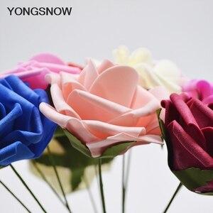 Image 3 - 10 Uds 8cm PE espuma de las flores flor de Rosa artificial ramo de novia decoración para fiesta de boda DIY arte de colección de recortes falsa flor