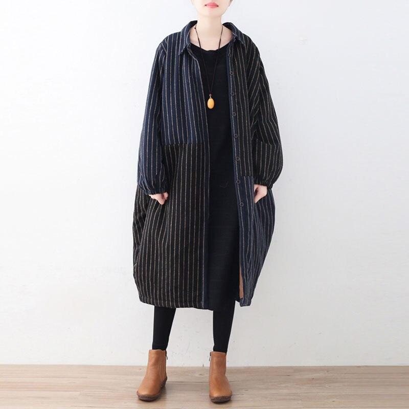 Johnature Women Striped Wool   Parkas   Patchwork Coat Bat Sleeve 2018 Winter New Plus Size Women Clothes Thick Warm Quality   Parkas