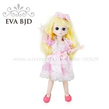 1/6 BJD Doll 30cm 19 jointed dolls Cute Girl White Pink Skin ( Free Eyes + Hair + Makeup + Clothes + Shoes )  EVA BJD DA003-02