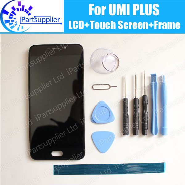 Umi Plus LCD Display + Touch Screen Digitizer +Frame Assembly 100% Original New LCD + Touch Digitizer for Umi Plus + Tools 100% original lcd for htc one m7 lcd display touch screen digitizer glass assembly with frame black silver gold blue red tools