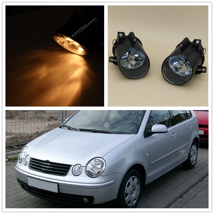 For VW Polo 9N MK4 2001 2002 2003 2004 Polo Sedan 2004 2005 2006 Car-styling High Quality Halogen Front Fog Light Fog Lamp front bumper fog lamp grille led convex lens fog light angel eyes for vw polo 2001 2002 2003 2004 2005 drl car accessory p364