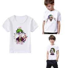 Summer Art Printing Suicide Squad Harley Quinn Joker Cartoon pattern Kids Print O-NECK Short Sleeve T-Shirt Casual White Tee
