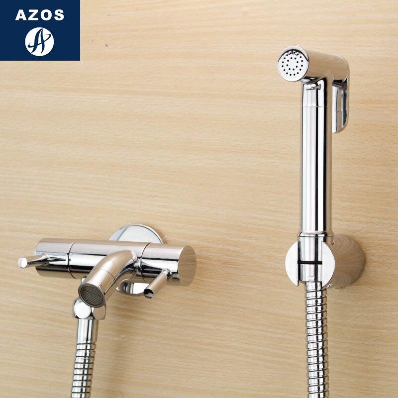 Azos Bidet Faucet Pressurized Sprinkler Head Brass Chrome Cold Water Two Function Mop Pond Wash Toilet SquarePJPQ010