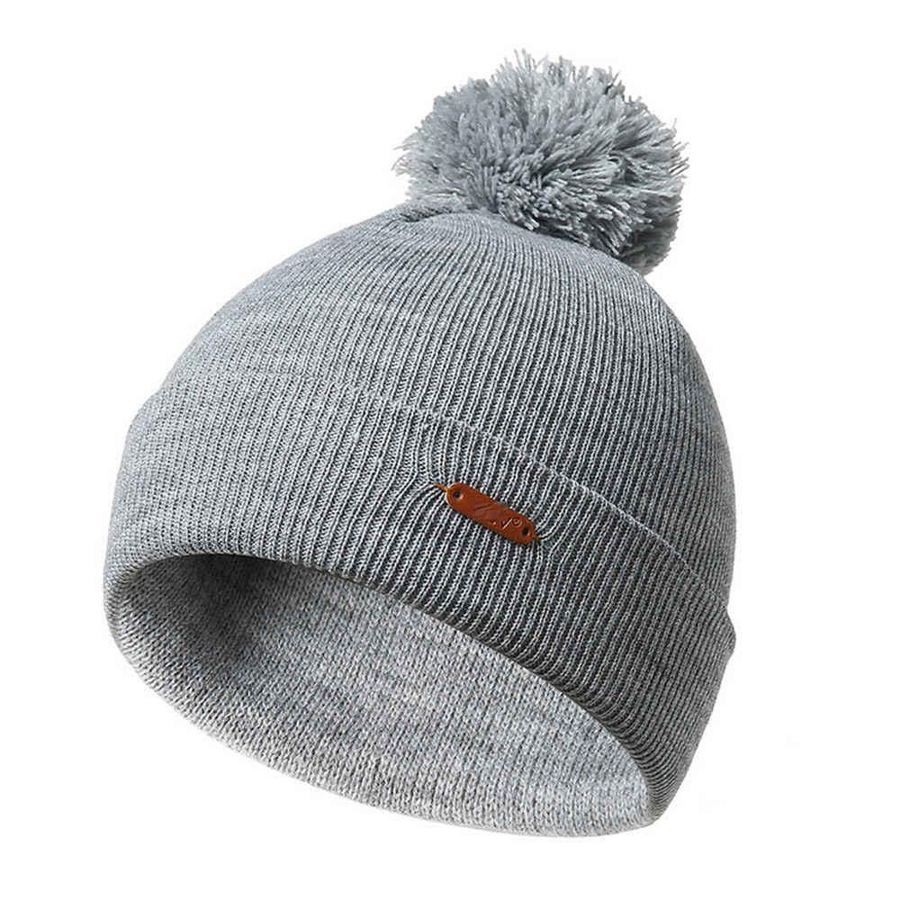 c884027d2 Unisex Women Mens Knitted Winter Warm Hats Oversized Ski Slouch Hat Cap  Beanies Knitting wool ball knit cap