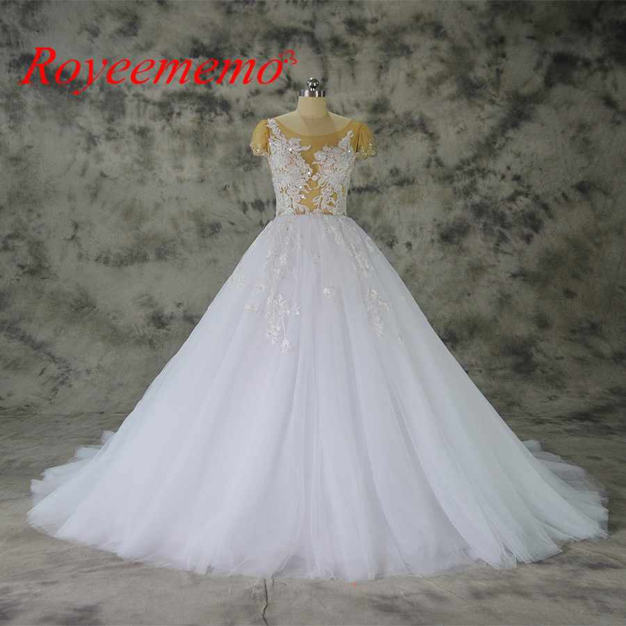 vestido de noiva hot sale nude tulle sexy transparent top Luxury lace Wedding Dress cap sleeve